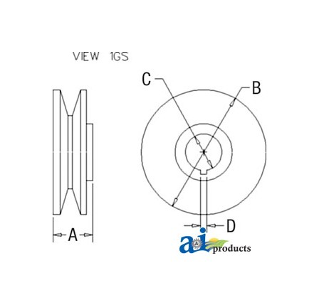 PULLEY 1V-GROOVE W/KW (GFD5000)